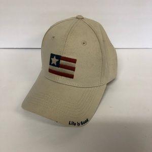 Life is Good | tan flag hat